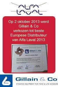 Gillain & Co - Beste Alfa Laval distributeur 2013